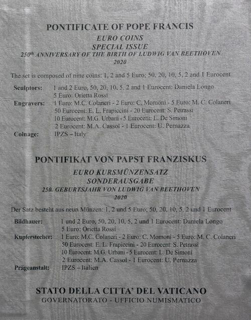 Zertifikat:Vatikan : 8,88 Euro KMS Vatikan mit 5 Euro Beethoven  2020 Stgl.