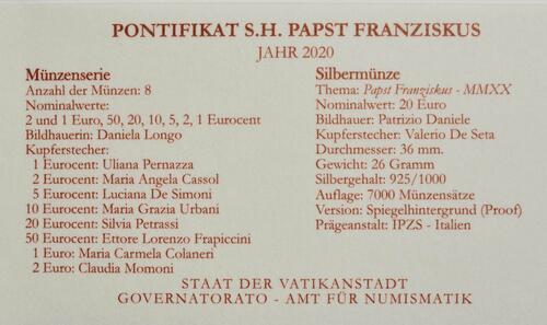 Zertifikat:Vatikan : 23,88 Euro KMS Vatikan mit 20 Euro Gedenkmünze  2020 PP