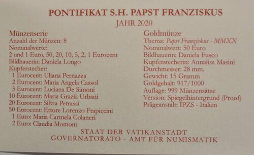 Zertifikat:Vatikan : 53,88 Euro KMS Vatikan mit 50 Euro Gedenkmünze  2020 PP