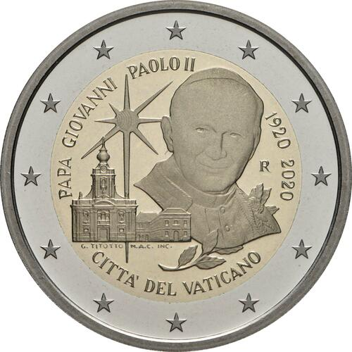 Rückseite:Vatikan : 2 Euro 100. Geburtstag von Johannes Paul II.  2020 PP