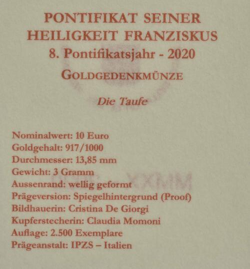 Zertifikat:Vatikan : 10 Euro Taufe  2020 PP