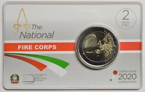 Rückseite:Italien : 2 Euro 80. Jahrestag der Gründung des Nationalen Feuerwehrkorps  2020 Stgl.