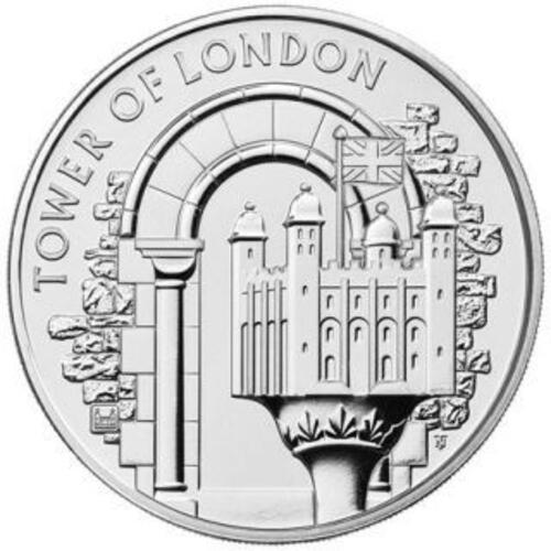 Vorderseite:Großbritannien : 5 Pfund Tower von London - White Tower  2020 Stgl.