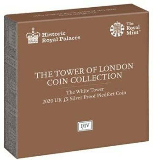 Zertifikat:Großbritannien : 5 Pfund Tower von London - White Tower Piedfort  2020 PP