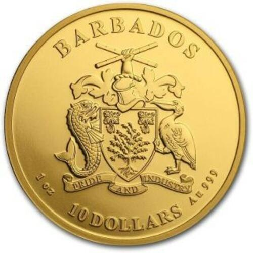 Vorderseite:Barbados : 1 Dollar Karibischer Pelikan 1 oz  2020 Stgl.