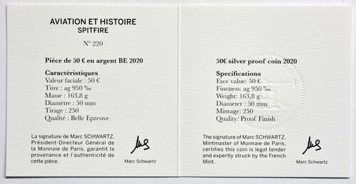 Zertifikat:Frankreich : 50 Euro Spitfire  2020 PP