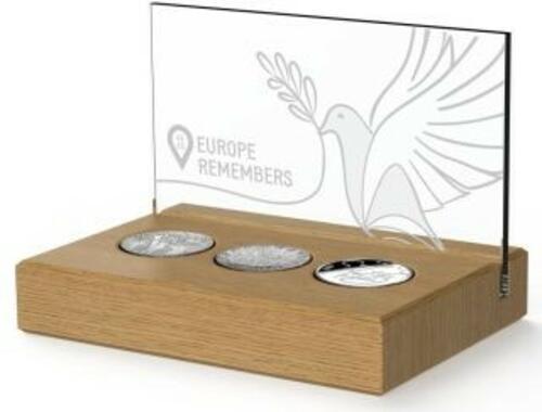 Lieferumfang:Niederlande : 5 Euro Set aus 5 Euro NL, 1$ Kanda, 1 Pfund GB - 75 Jahre Ende 2. Weltkrieg  2020 PP