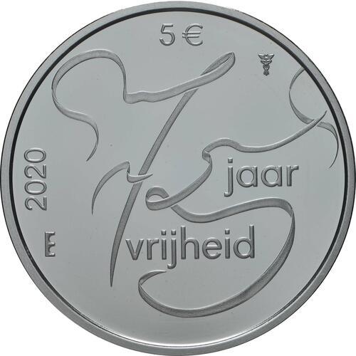 Vorderseite:Niederlande : 5 Euro 75 Jahre Ende 2. Weltkrieg  2020 PP