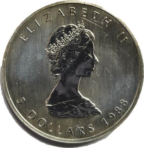Rückseite:Kanada : 5 Dollar Maple Leaf  1988 bfr
