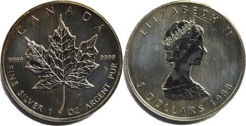 Lieferumfang:Kanada : 5 Dollar Maple Leaf  1988 bfr