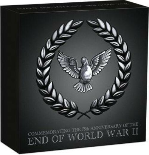 Rückseite:Australien : 2 Dollar 75 Jahre Ende des 2. Weltkrieges Antikfinish  2020 Stgl.