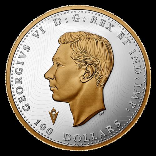Rückseite:Kanada : 100 Dollar Operation Manna - Befreiung der Niederlande 10 oz  2020 PP