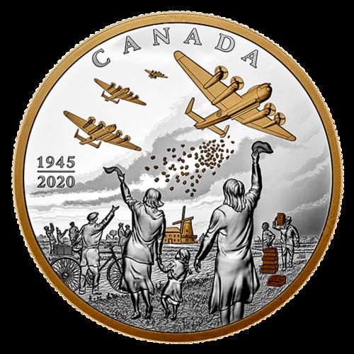 Vorderseite:Kanada : 100 Dollar Operation Manna - Befreiung der Niederlande 10 oz  2020 PP