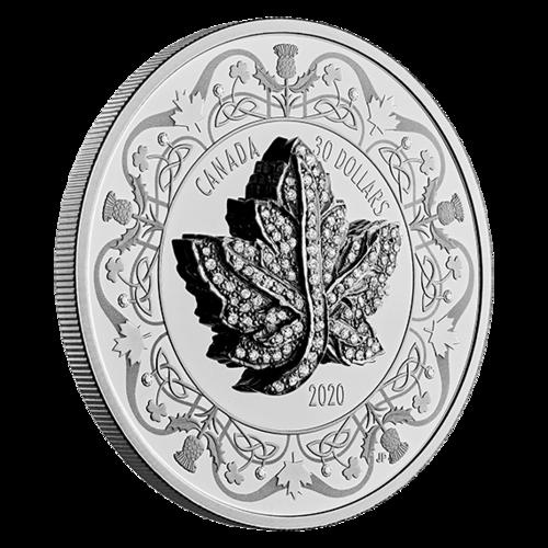 Vorderseite:Kanada : 30 Dollar Maple Leaf Brooch Legacy mit Zirkonen+Kette 2 oz  2020 PP