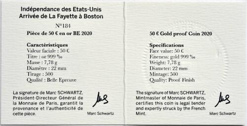 Zertifikat:Frankreich : 50 Euro La Fayette  2020 PP