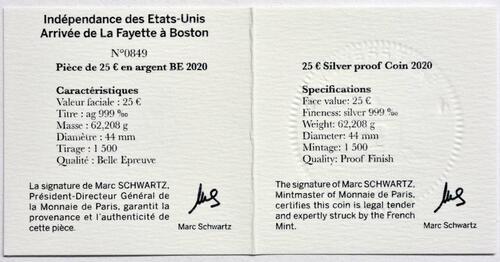 Zertifikat:Frankreich : 25 Euro La Fayette  2020 PP