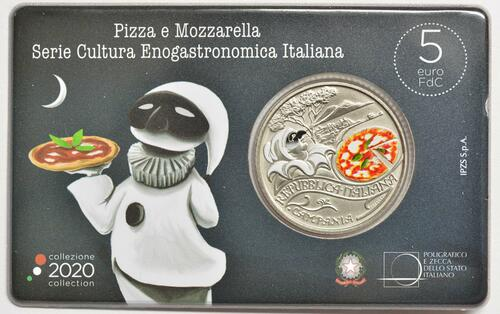 Zertifikat:Italien : 5 Euro Pizza #1 farbig  2020 Stgl.