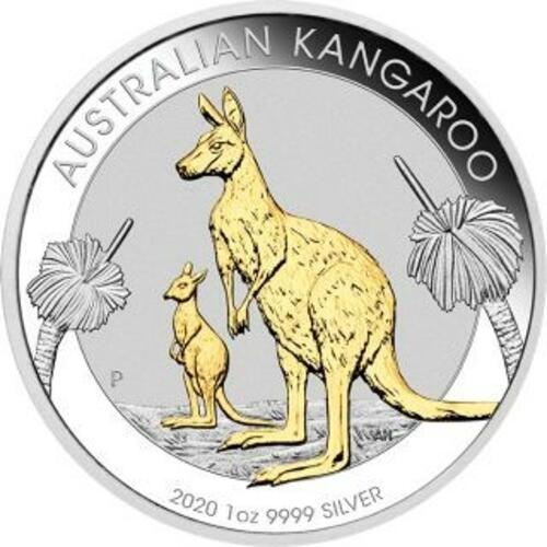 Vorderseite:Australien : 1 Dollar Känguru - Perth Mint Variante vergoldet im Etui  2020 Stgl.