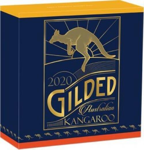 Zertifikat:Australien : 1 Dollar Känguru - Perth Mint Variante vergoldet im Etui  2020 Stgl.