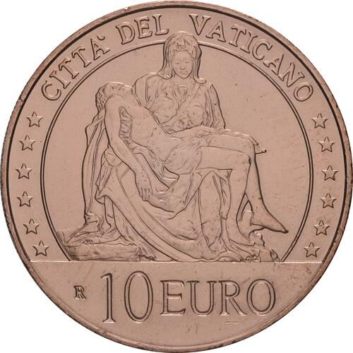Rückseite:Vatikan : 10 Euro Kunst und Glaube: La Pieta  2020 Stgl.