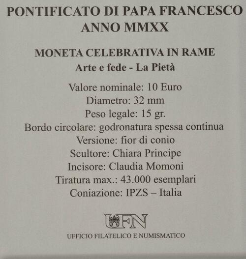 Zertifikat:Vatikan : 10 Euro Kunst und Glaube: La Pieta  2020 Stgl.