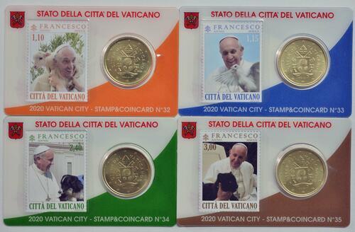 Lieferumfang:Vatikan : 50 Cent 4x 50 Cent + Briefmarken  2020 bfr