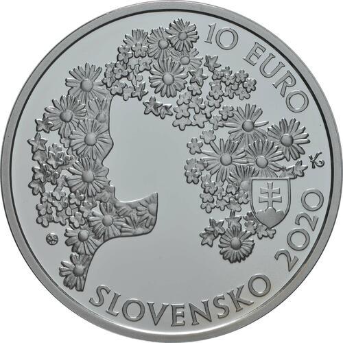 Rückseite:Slowakei : 10 Euro 200. Geb. Andrej Sladkovic (Schriftsteller)  2020 PP