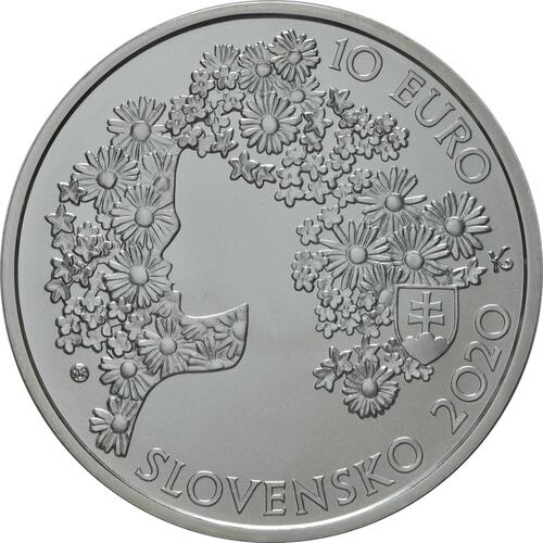 Rückseite:Slowakei : 10 Euro 200. Geb. Andrej Sladkovic (Schriftsteller)  2020 Stgl.