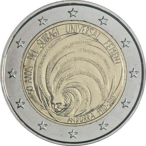 Rückseite:Andorra : 2 Euro 50 Jahre allgemeines Frauenwahlrecht in Andorra  2020 bfr