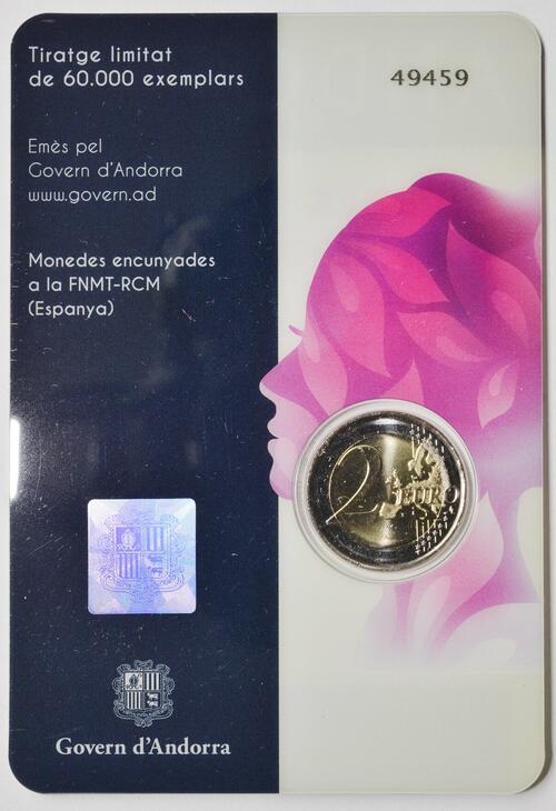 Zertifikat:Andorra : 2 Euro 50 Jahre allgemeines Frauenwahlrecht in Andorra  2020 bfr