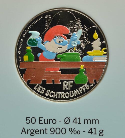 Vorderseite:Frankreich : 50 Euro Papa Schlumpf  2020 Stgl.