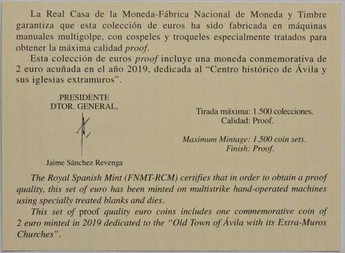 Zertifikat:Spanien : 5,88 Euro KMS Spanien  incl. 2 Euro Avila  2019 PP