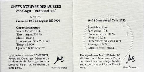 Zertifikat:Frankreich : 10 Euro Van Gogh/Selbstportrait  2020 PP