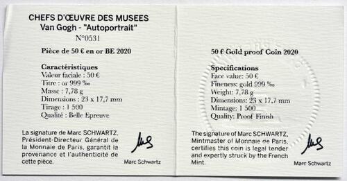 Zertifikat:Frankreich : 50 Euro Van Gogh/Selbstportrait  2020 PP