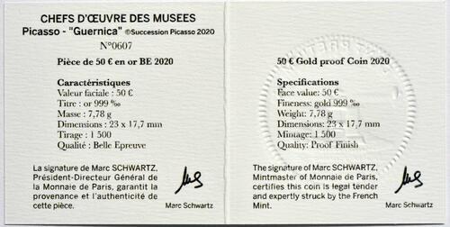 Zertifikat:Frankreich : 50 Euro Picasso/Guernica  2020 PP