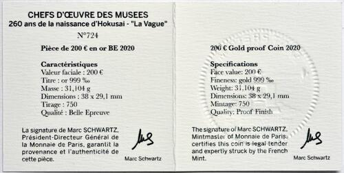 Zertifikat:Frankreich : 200 Euro Hokusai/Die Welle  2020 PP
