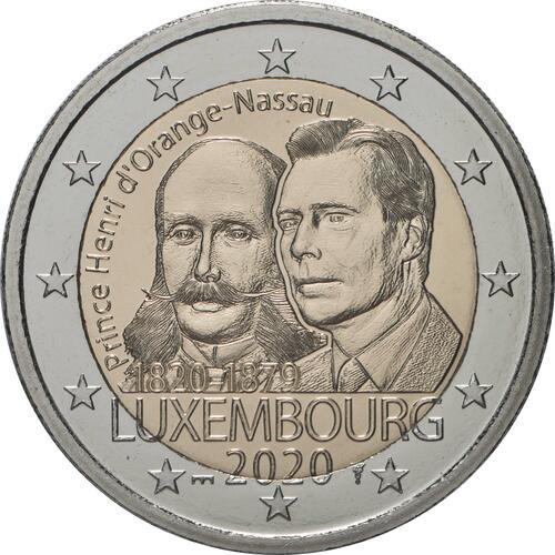 Rückseite:Luxemburg : 2 Euro 200. Geburtstag von Prinz Heinrich von Oranien-Nassau Münzzeichen Brücke  2020 Stgl.