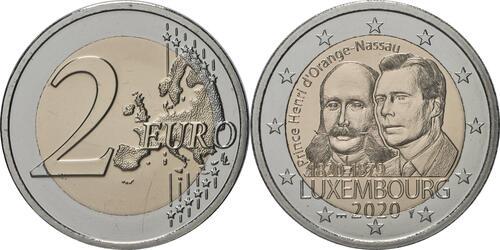 Lieferumfang:Luxemburg : 2 Euro 200. Geburtstag von Prinz Heinrich von Oranien-Nassau Münzzeichen Brücke  2020 Stgl.