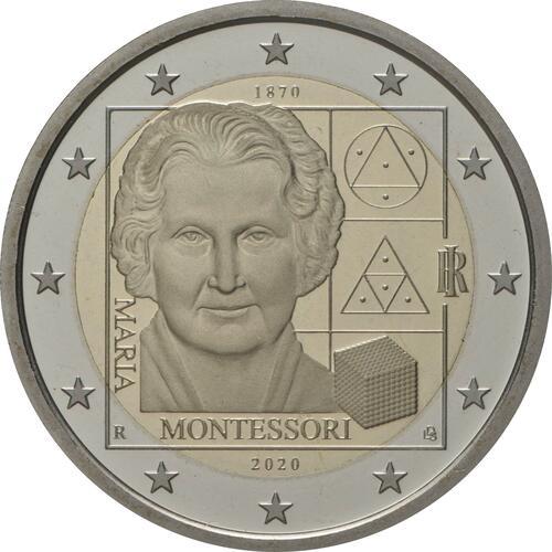 Rückseite:Italien : 2 Euro 150. Geburtstag von Maria Montessori  2020 PP