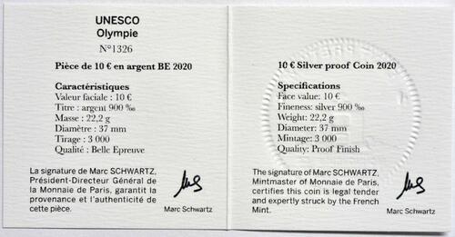 Zertifikat:Frankreich : 10 Euro Die Drei Berge - Olymp  2020 PP