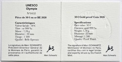 Zertifikat:Frankreich : 50 Euro Die Drei Berge - Olymp  2020 PP