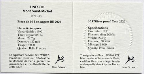 Zertifikat:Frankreich : 10 Euro Die Drei Berge - Mt. St.-Michel  2020 PP