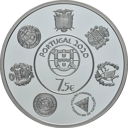 Rückseite:Portugal : 7,5 Euro Douro Eisenbahnlinie - Iberoamerikan. Serie  2020 PP