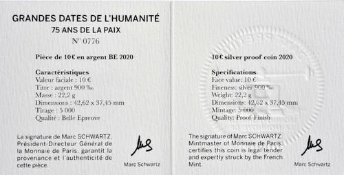 Zertifikat:Frankreich : 10 Euro 75 Jahre Frieden  2020 PP