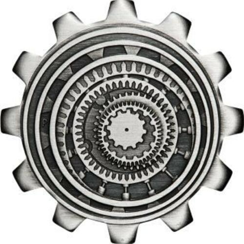 Vorderseite:Tuvalu : 2 Dollar Industry in Motion-Zahnrad Set 2x1 oz Antikfinish  2020 Stgl.
