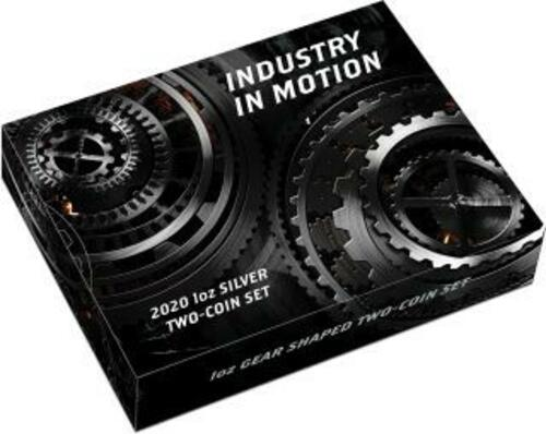 Zertifikat:Tuvalu : 2 Dollar Industry in Motion-Zahnrad Set 2x1 oz Antikfinish  2020 Stgl.