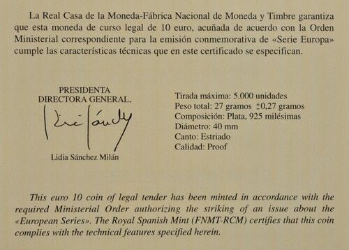 Zertifikat:Spanien : 10 Euro Gothik - Europastern  2020 PP