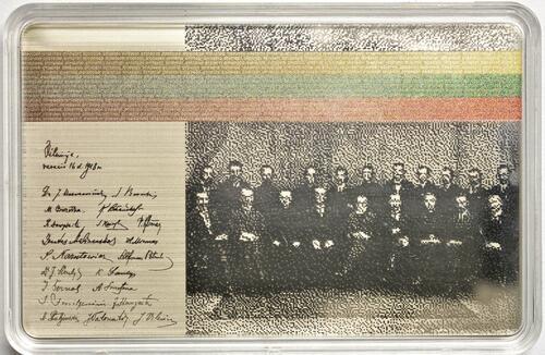 Vorderseite:Litauen : 19,18 Euro Unterzeichner der Unabhängigkeitserklärung im Jahr 1918 - erste Blockchain-Münze  2020 PP