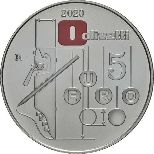 Rückseite:Italien : 5 Euro Olivetti weiß  2020 Stgl.
