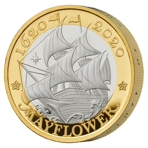 Lieferumfang:Großbritannien : 2 Pfund Reise der Mayflower - Piedfort vergoldet  2020 PP